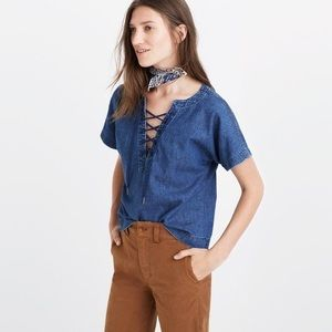 Madewell Denim Lace Up Top (M)